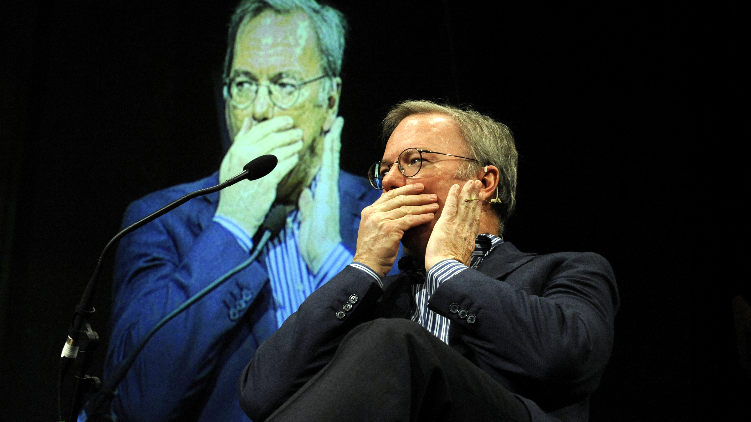 Google Executive Chairman Eric Schmidt speaks about the connected world, at the Hay Festival, in Hay-on-Wye, central Wales May 25, 2013.