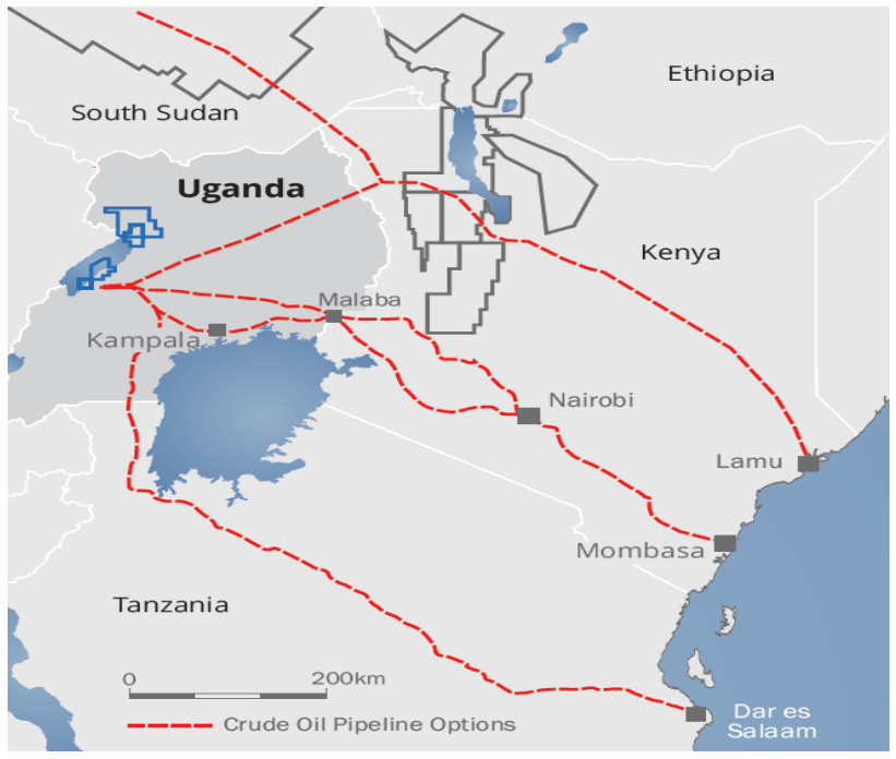 Proposed oil pipelines in East Africa