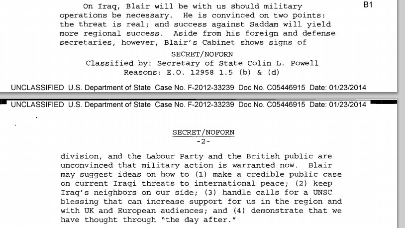 A memo from former Secretary of State Colin Powell to President George W Bush.