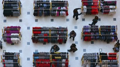 Customers shop inside a department store in Shenyang, Liaoning province in China.