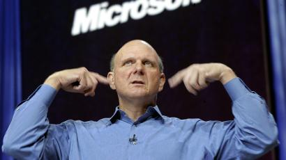 Microsoft Corp. CEO Steve Ballmer delivers his keynote speech during the Microsoft Worldwide Partner Conference in Boston, Tuesday, July 11, 2006. (AP Photo/Chitose Suzuki)