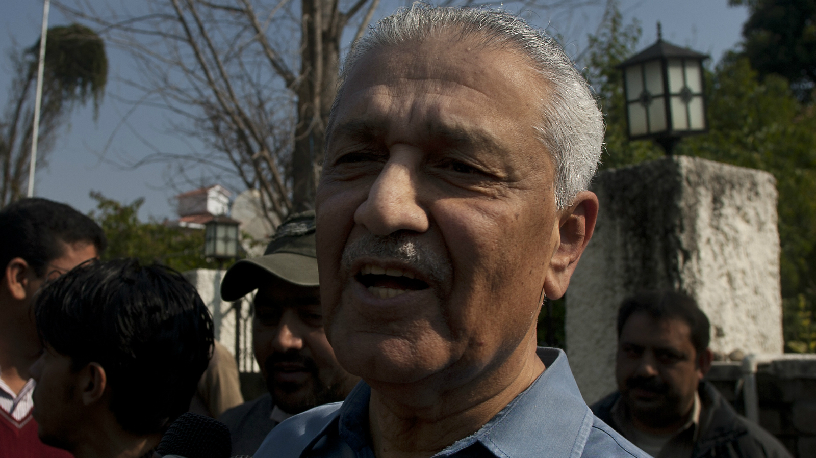 In this photo taken on Feb, 6, 2009, Pakistan's nuclear scientist Abdul Qadeer Khan speaks to the media outside his residence in Islamabad, Pakistan. The architect of Pakistan's nuclear program scored another court victory Friday, May 28, 2010 in his quest to ease restrictions on his movement, though it appears he will remain subject to government surveillance. Khan was detained in December 2003, and in early 2004 he admitted on television that he operated a network that spread nuclear weapons technology to North Korea, Libya and Iran.