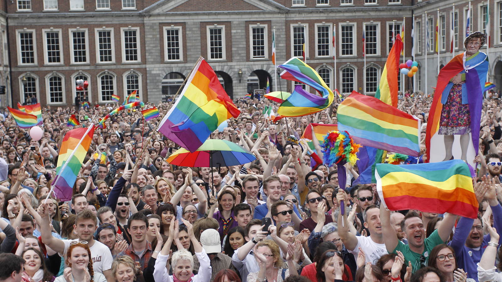 """Yes supporters react at Dublin castle, Ireland, Saturday, May 23, 2015. Ireland has voted resoundingly to legalize gay marriage in the world's first national vote on the issue, leaders on both sides of the Irish referendum declared Saturday even as official ballot counting continued. Senior figures from the """"no"""" campaign, who sought to prevent Ireland's constitution from being amended to permit same-sex marriages, say the only question is how large the """"yes"""" side's margin of victory will be from Friday's vote. ()"""