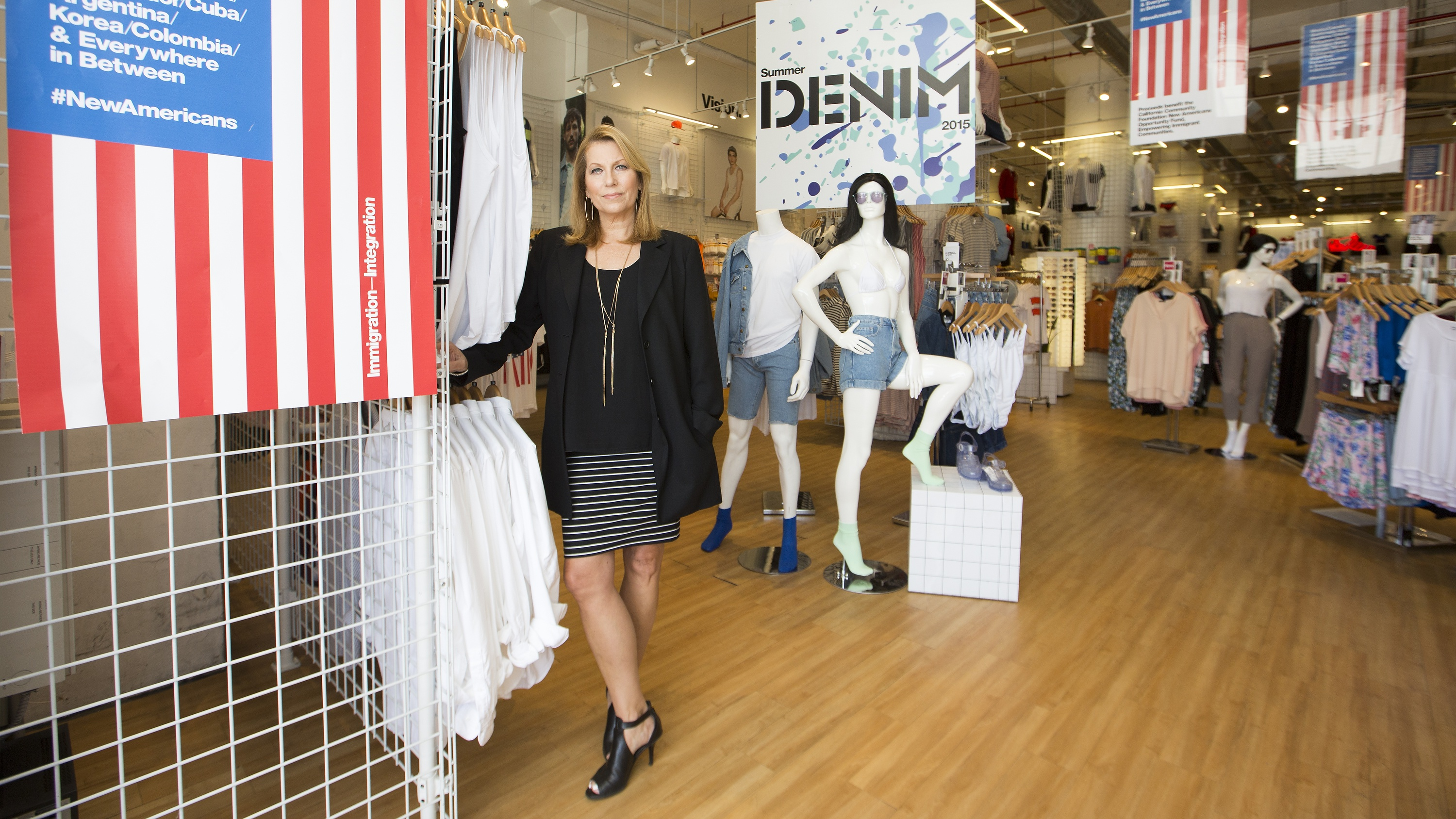 In this Friday, June 19, 2015 photo, American Apparel CEO Paula Schneider poses for a photo in Los Angeles. American Apparel is North America's largest apparel manufacturer.