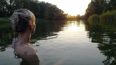 A woman swims in the Danube.