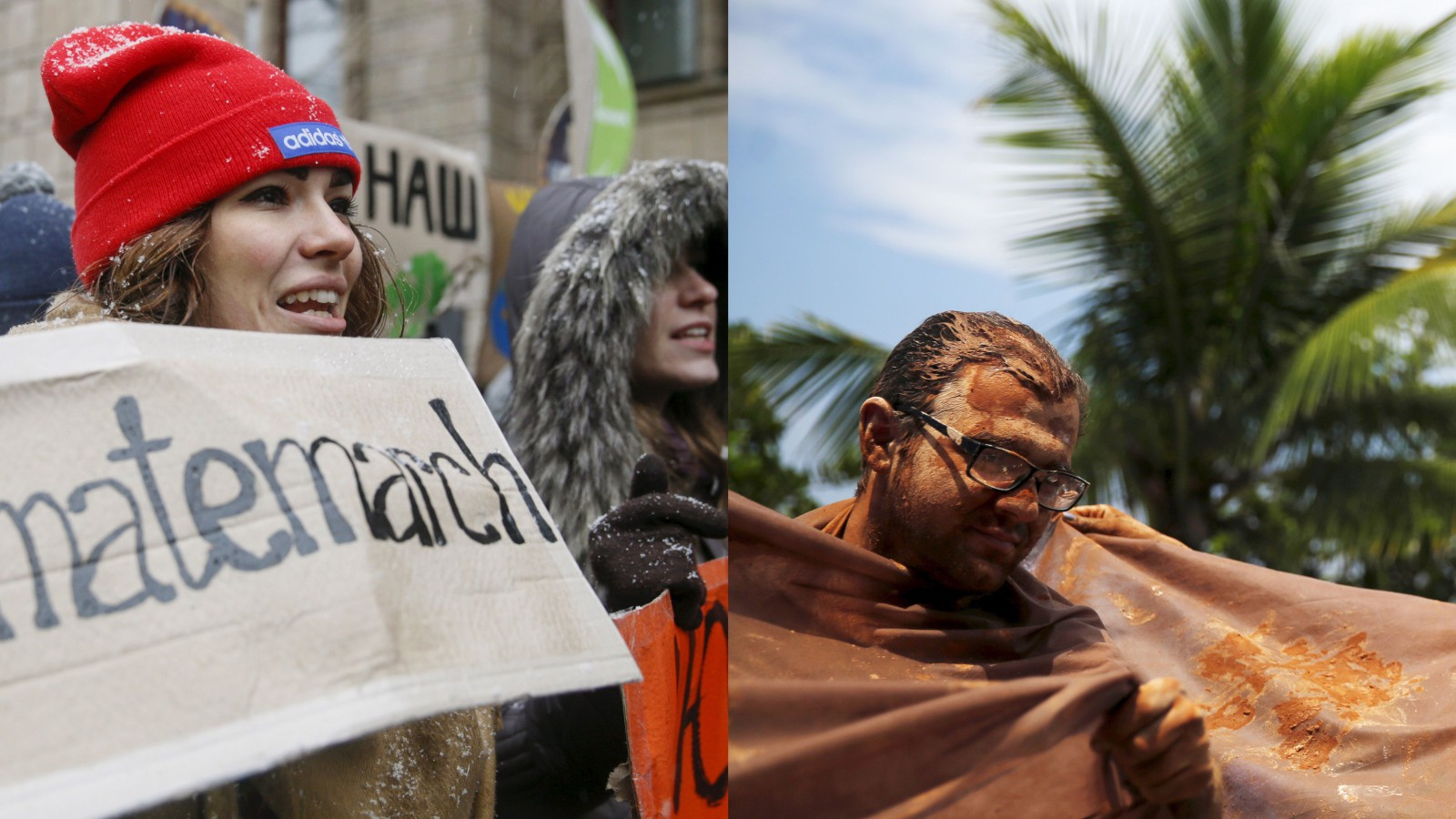 Protesters in Ukraine and Brazil.
