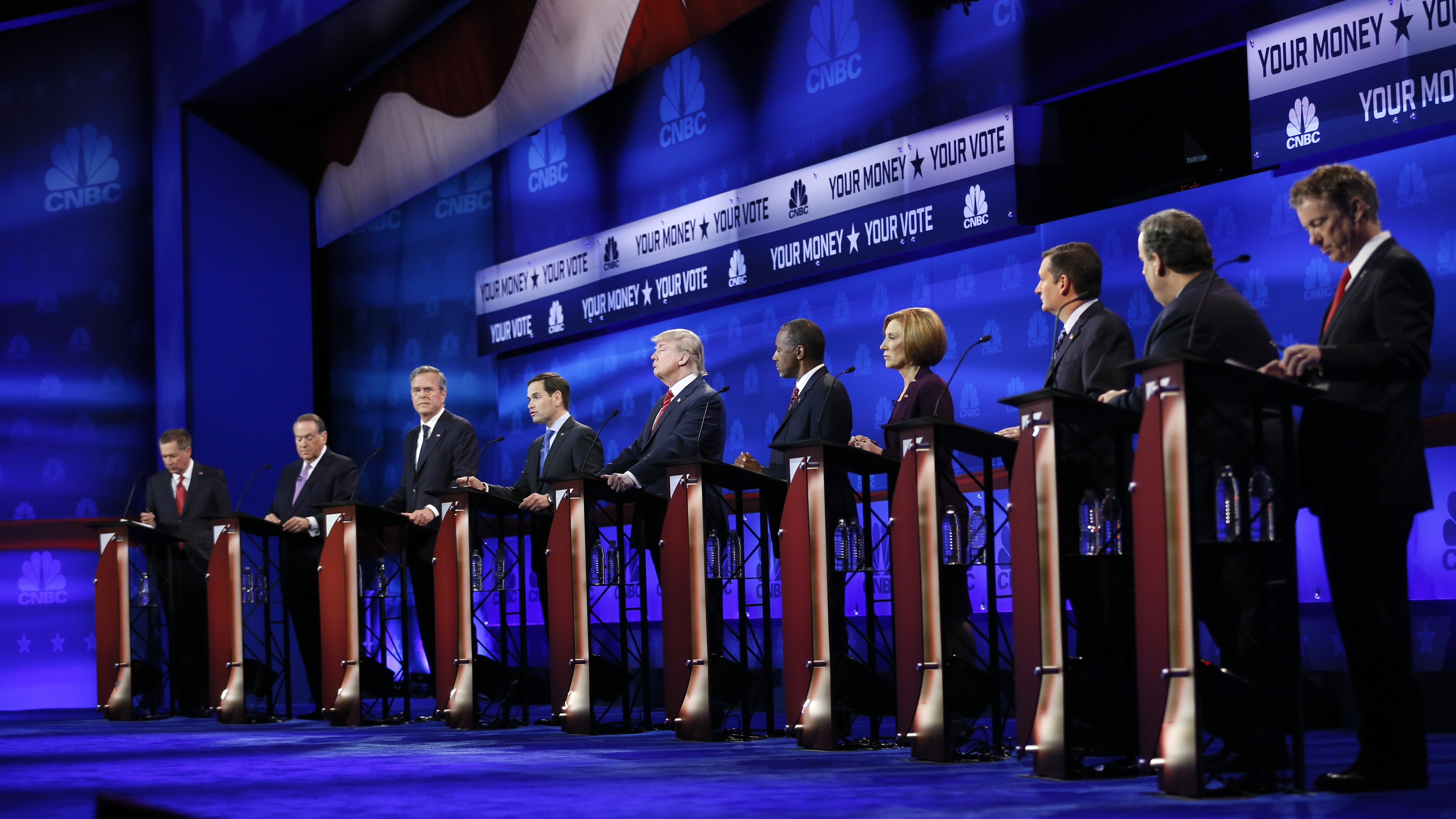 Republican candidates line the stage at the CNBC debate, Oct. 30.
