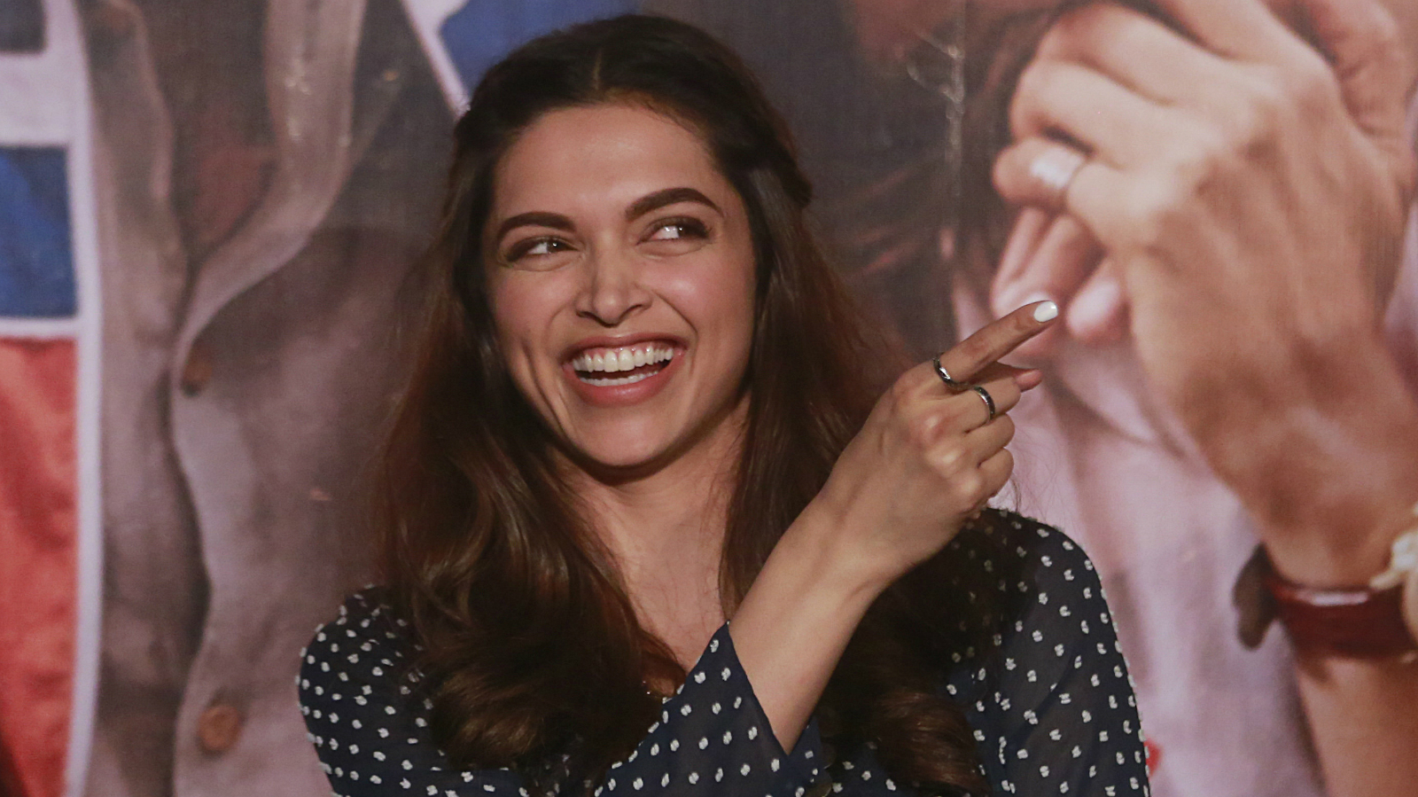 Bollywood actor Deepika Padukone gestures during the trailer launch of her film 'Tamasha' in Mumbai, India,Tuesday, Sept. 22, 2015. The film is scheduled for release on November 27, 2015 (AP Photo/Rafiq Maqbool)