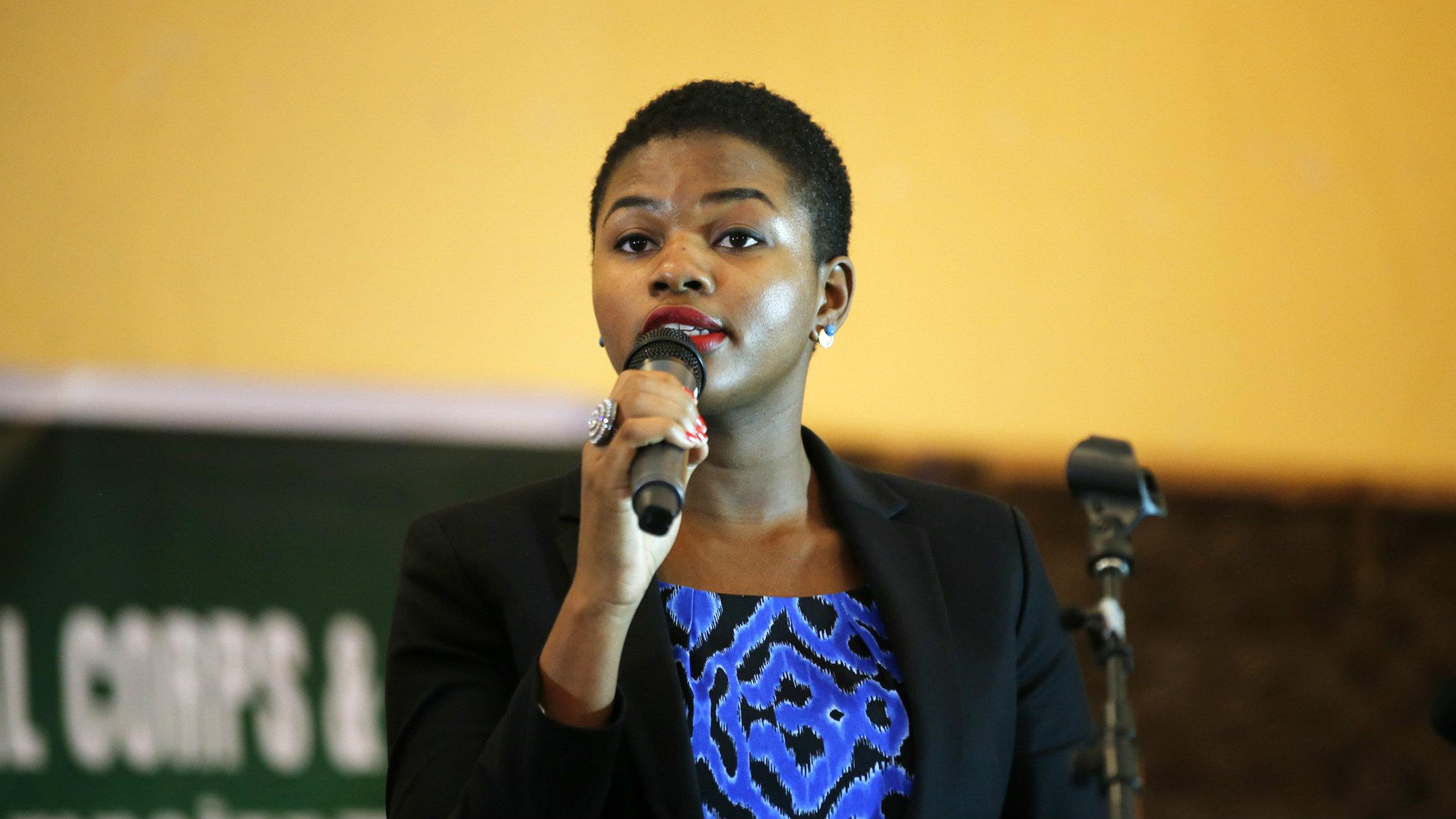 Ebola survivor and public health advocate, Dr. Ada Igonoh, speaks in Lagos.