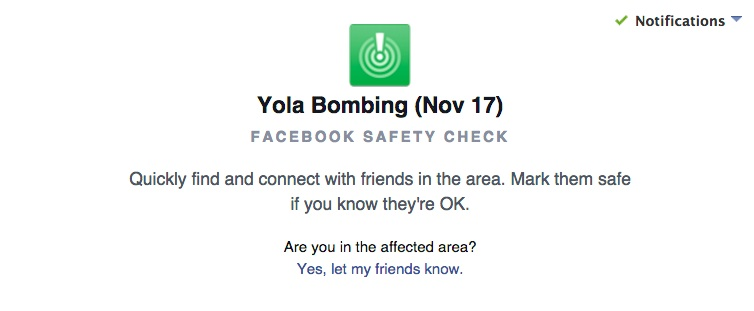 "Facebook has activated its ""safety check"" feature to allow users in Yola, NIgeria to let their friends know they are safe."