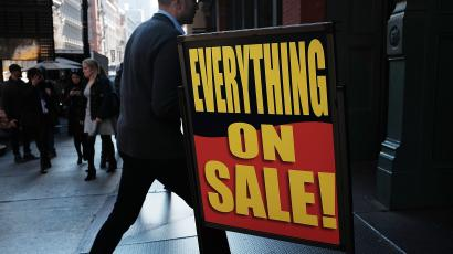 A sign advertises a sale in a shopping district in lower Manhattan on November 17, 2015 in New York City.