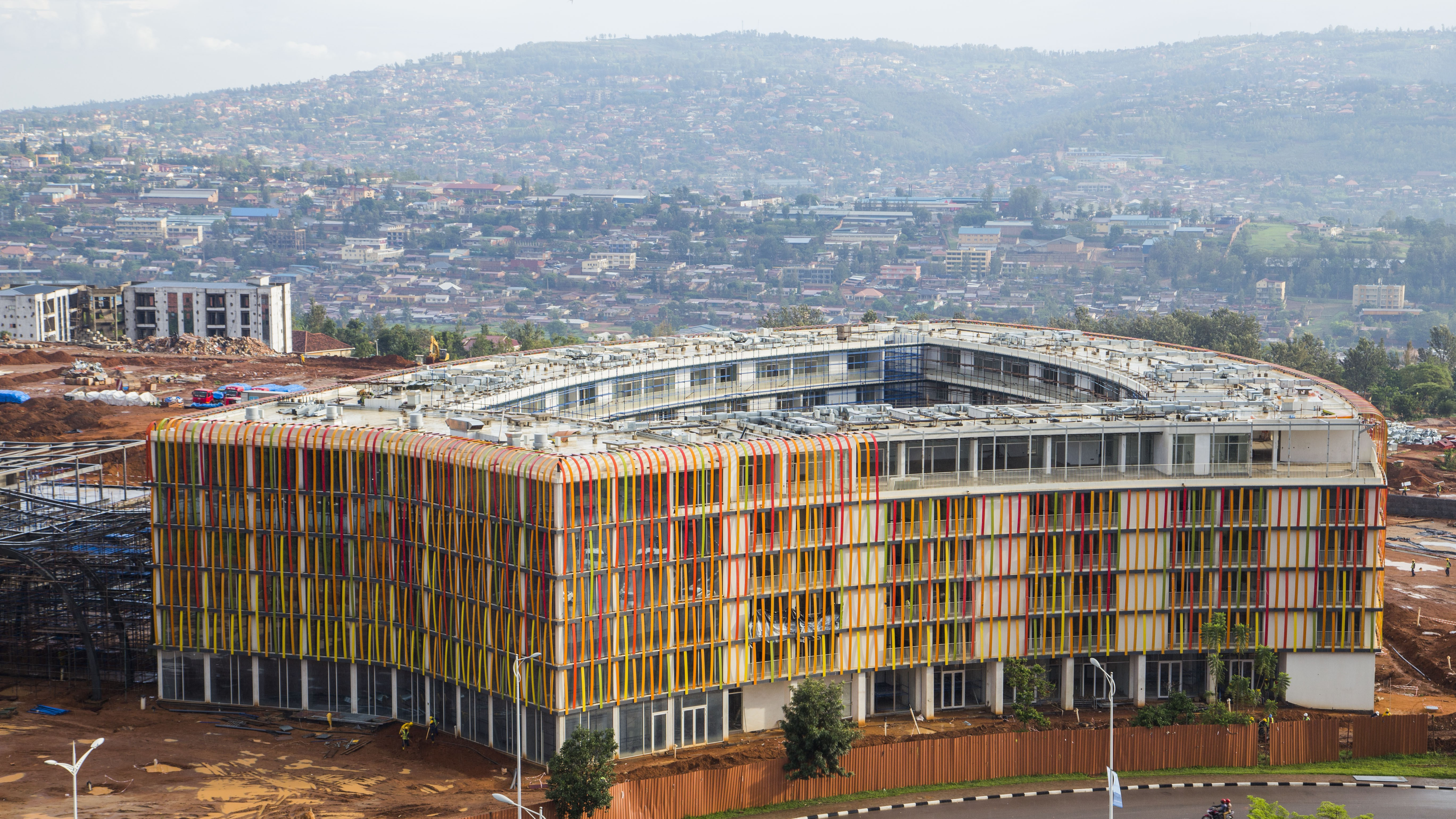 The yet to be completed Radisson Blue Hotel which will be part of the Kigali Convention Center.Photo:Cyril NDEGEYA