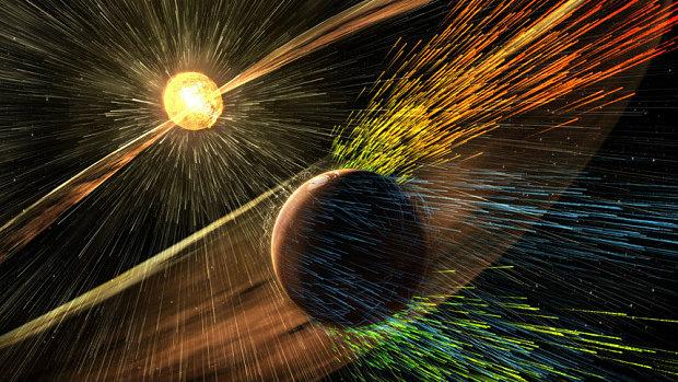 An artist's depiction of a solar storm hitting Mars.