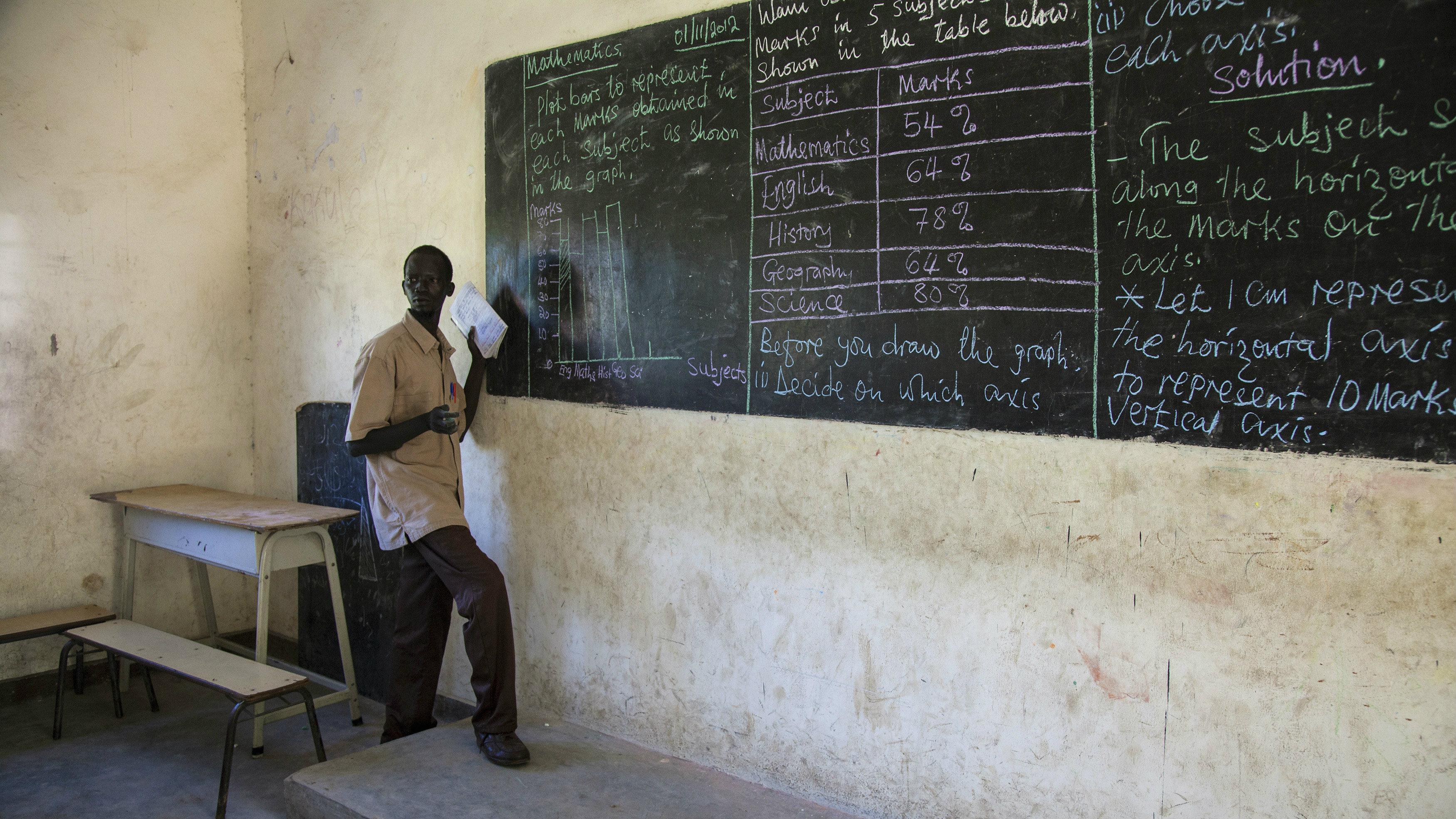 Dwanya James teaches mathematics at the Juba One Girls Basic Education School in Juba, November 1, 2012. REUTERS/Adriane Ohanesian (SOUTH SUDAN - Tags: EDUCATION SOCIETY)