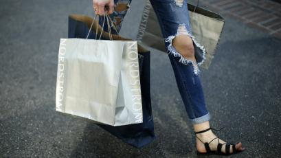 A woman carries Nordstrom shopping bags at The Grove mall in Los Angeles.