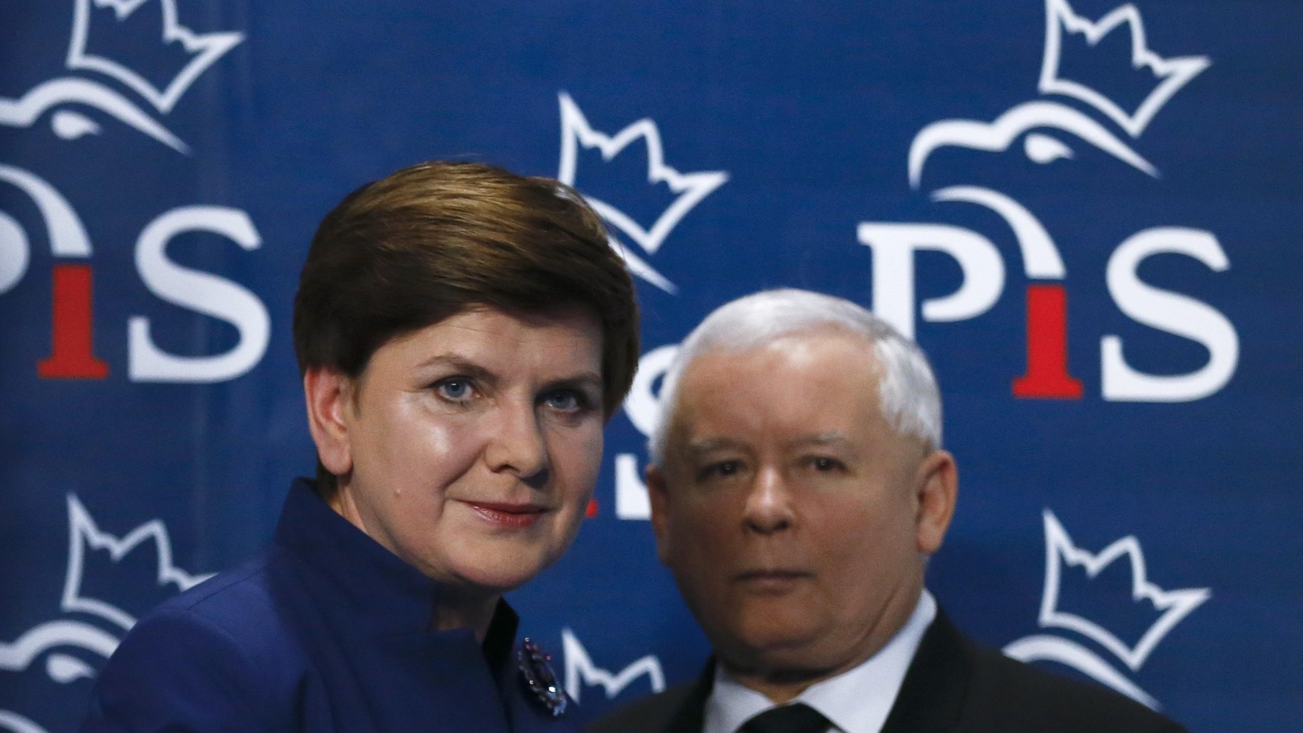 Beata Szydło, the new prime minister, and the éminence grise Jarosław Kaczyński.