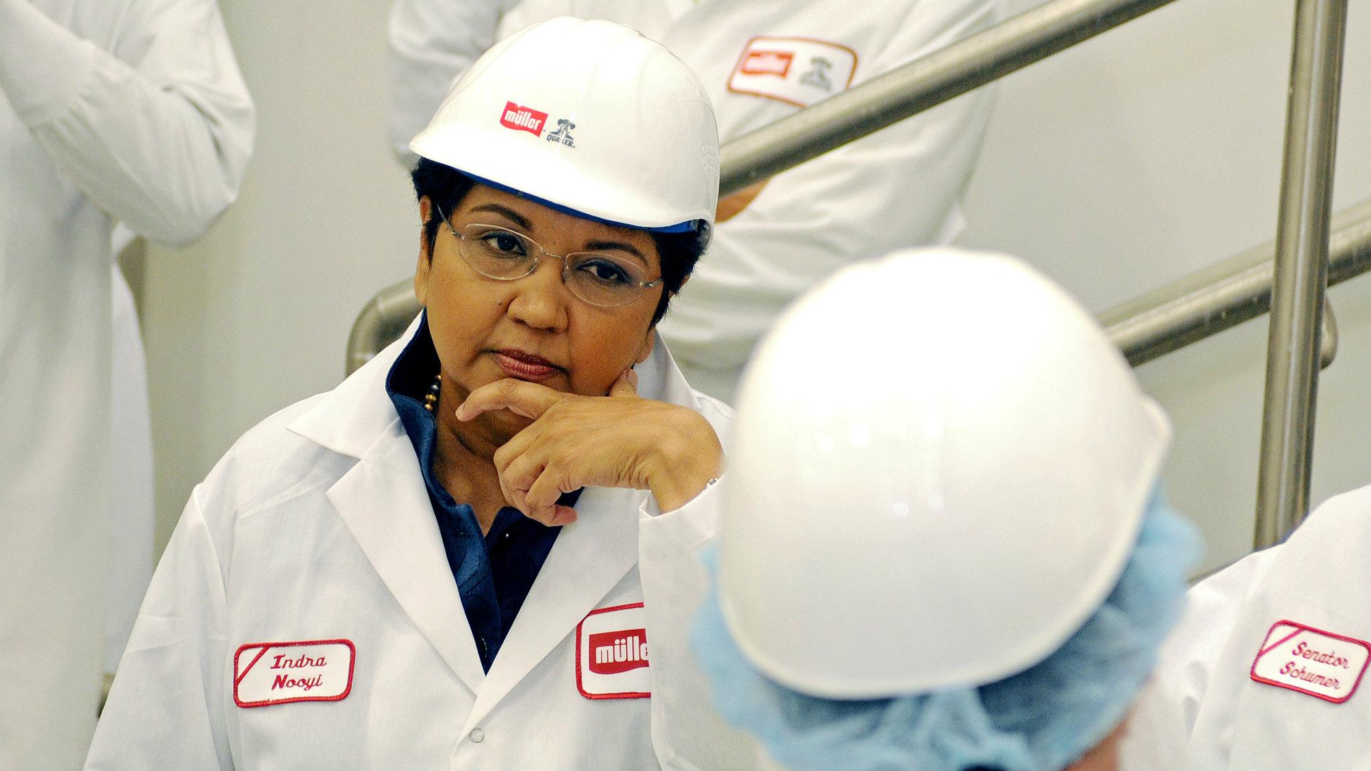 PepsiCo CEO Indra Nooyi at the Muller Quaker dairy facility in Batavia