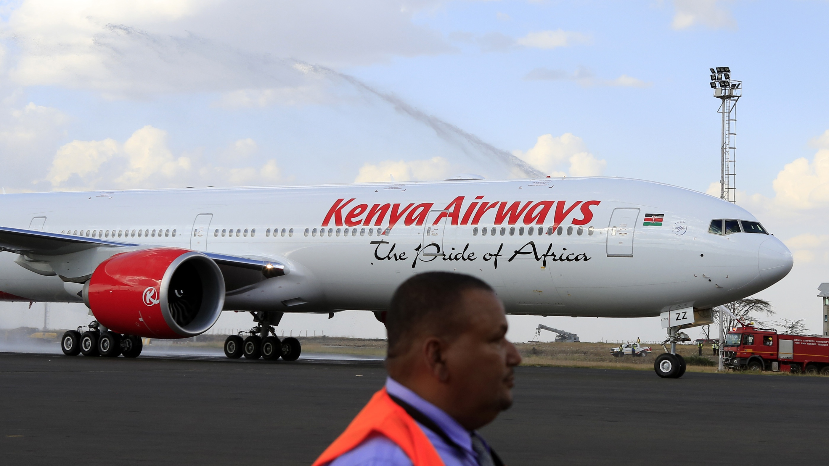 Kenya Airways newly acquired Boeing 777-300ER aircraft, with a sitting capacity of 400 passengers, arrives at the Jomo Kenyatta International Airport in Nairobi