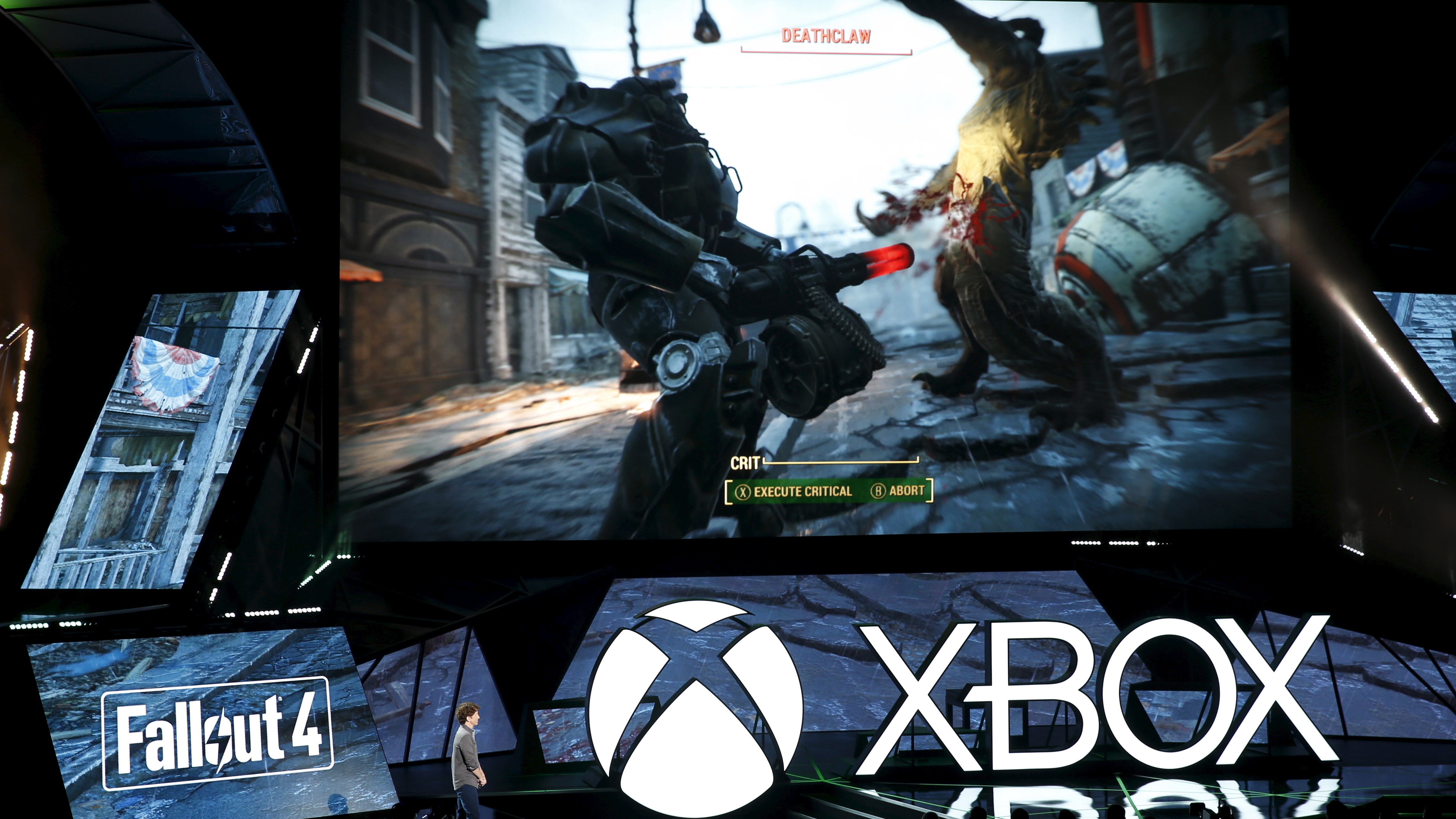 """Todd Howard of Bethesda Game Studios introduces the """"Fallout 4"""" video game during game publisher Microsoft's Xbox media briefing before the opening day of the Electronic Entertainment Expo, or E3, in Los Angeles, California, United States, June 15, 2015."""