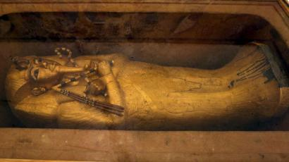 The golden sarcophagus of King Tutankhamun.