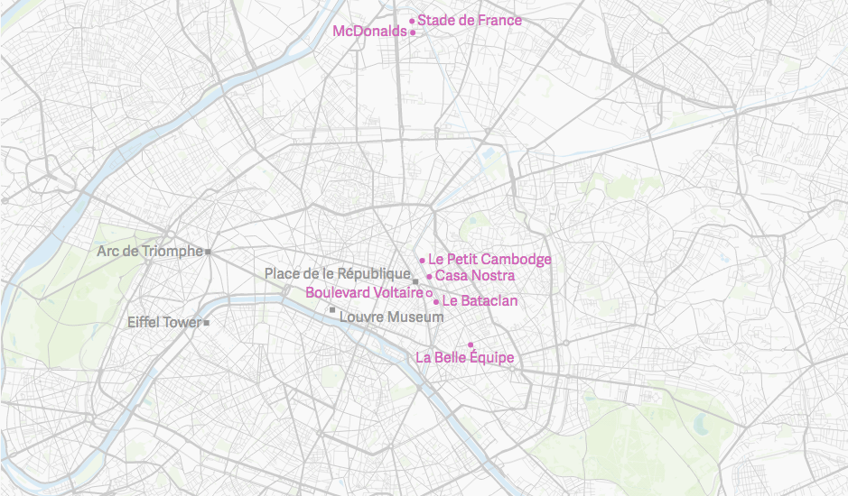 Bataclan Concert Hall Paris Map.Map Of The Paris Attacks What Happened And Where Quartz
