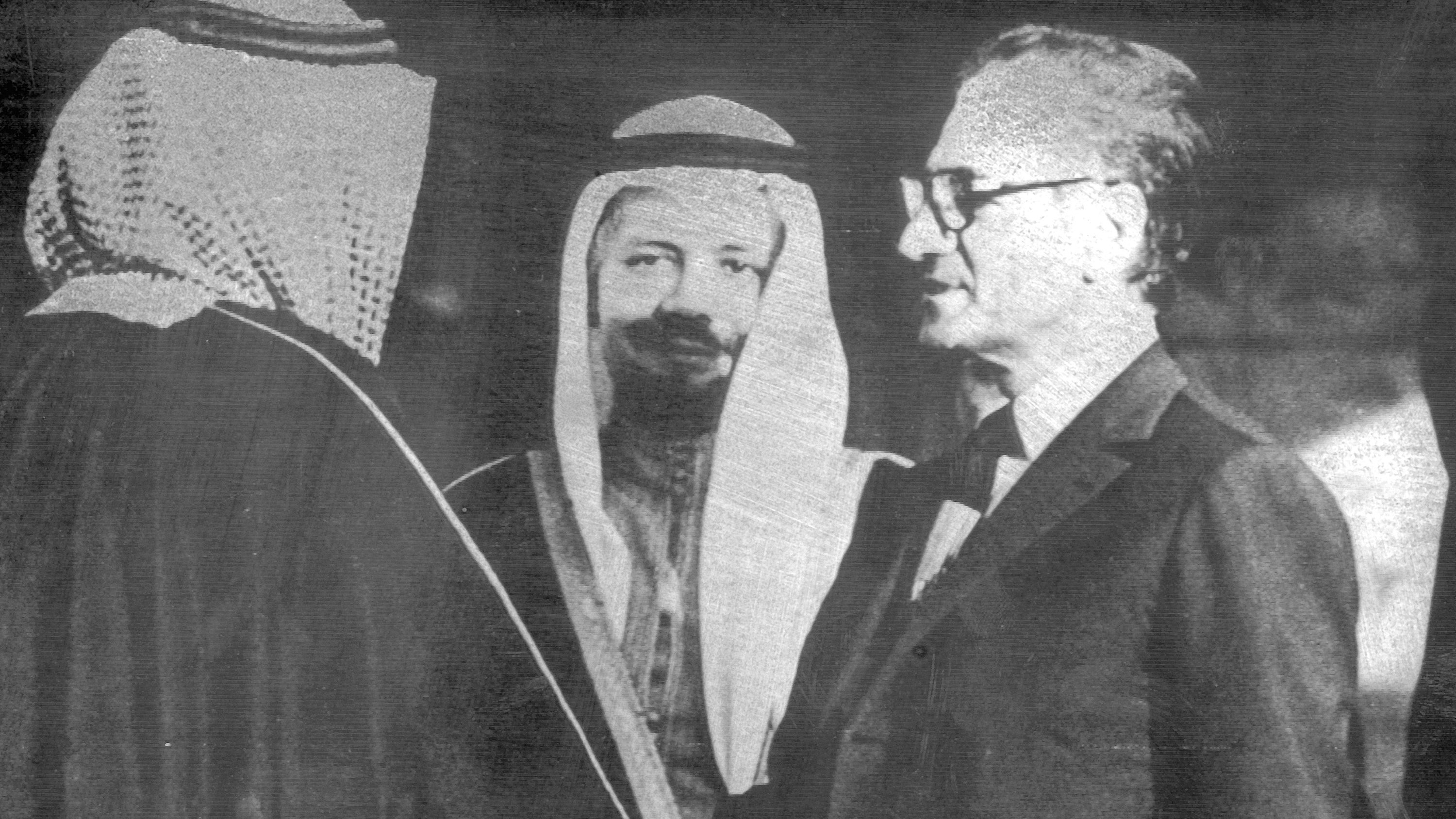 Shah of Iran meets with Prince Fahd, Vice Premier of Saudi Arabia and brother of King Faisal. Center Sheikh Zaki Yamani, Saudi Arabian Oil Minister. Meeting took place on March 5, 1975.