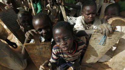 Sudanese children at a refugee camp outside of El Fasher, near Darfur.
