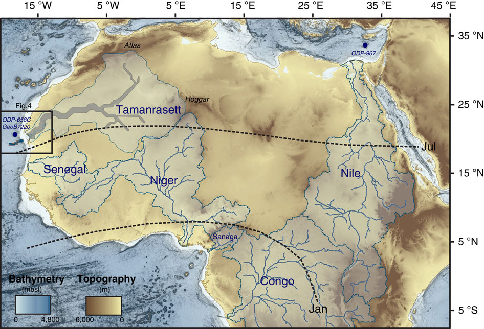 The newly discovered riverbed is shown on the map on the far left, in dark blue.
