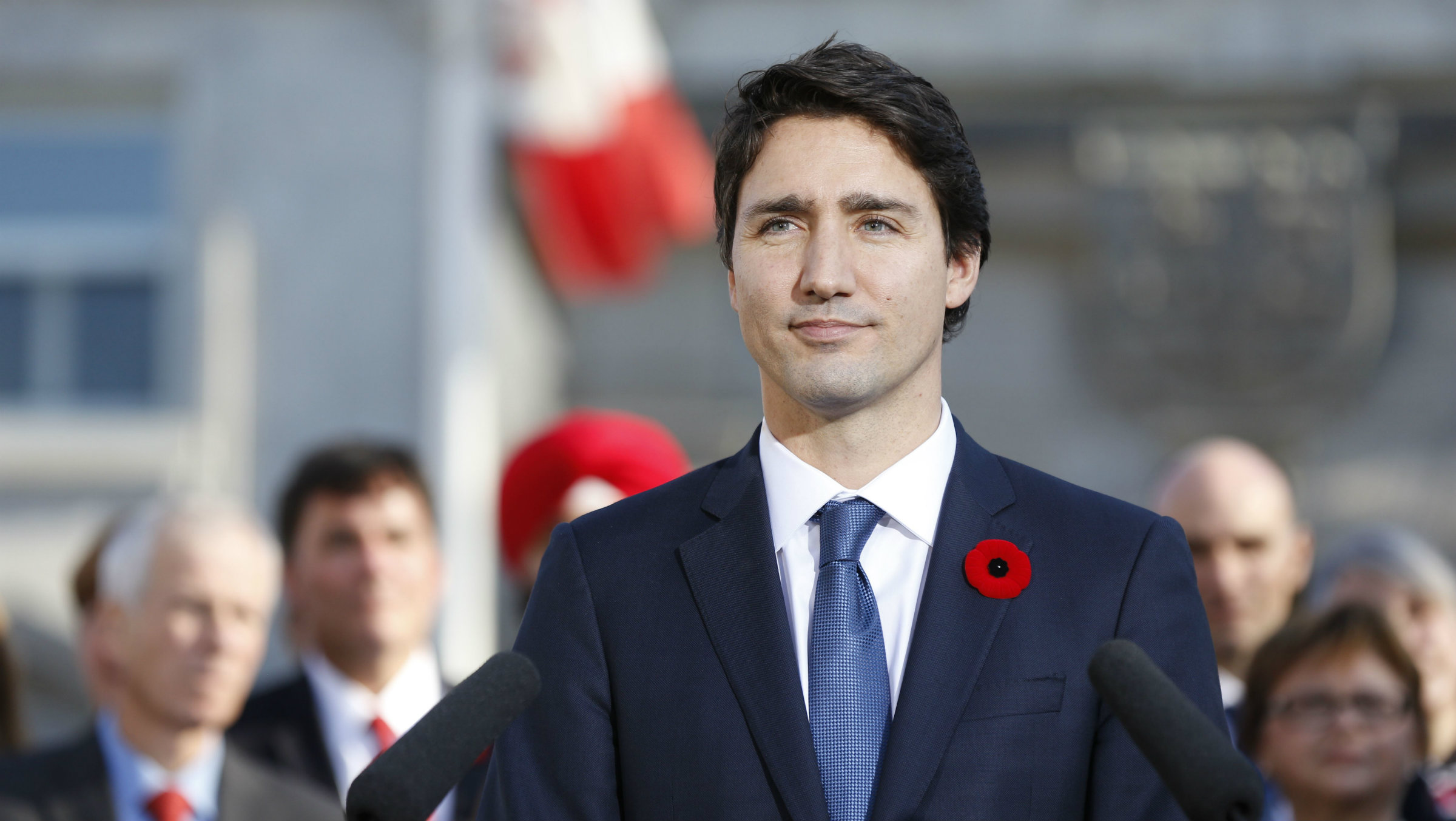 Trudeau looking into distance
