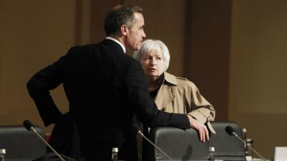 U.S. Federal Reserve Board Chair Janet Yellen (R) talks with Mark Carney, Governor of the Bank of England, during the February 2015 G20 finance ministers and central bank governors meeting in Istanbul, Turkey.
