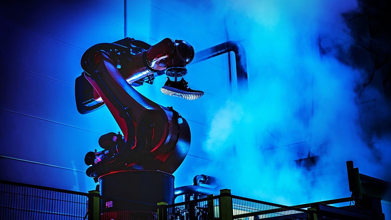 "A robot in Adidas' ""Speedfactory"""