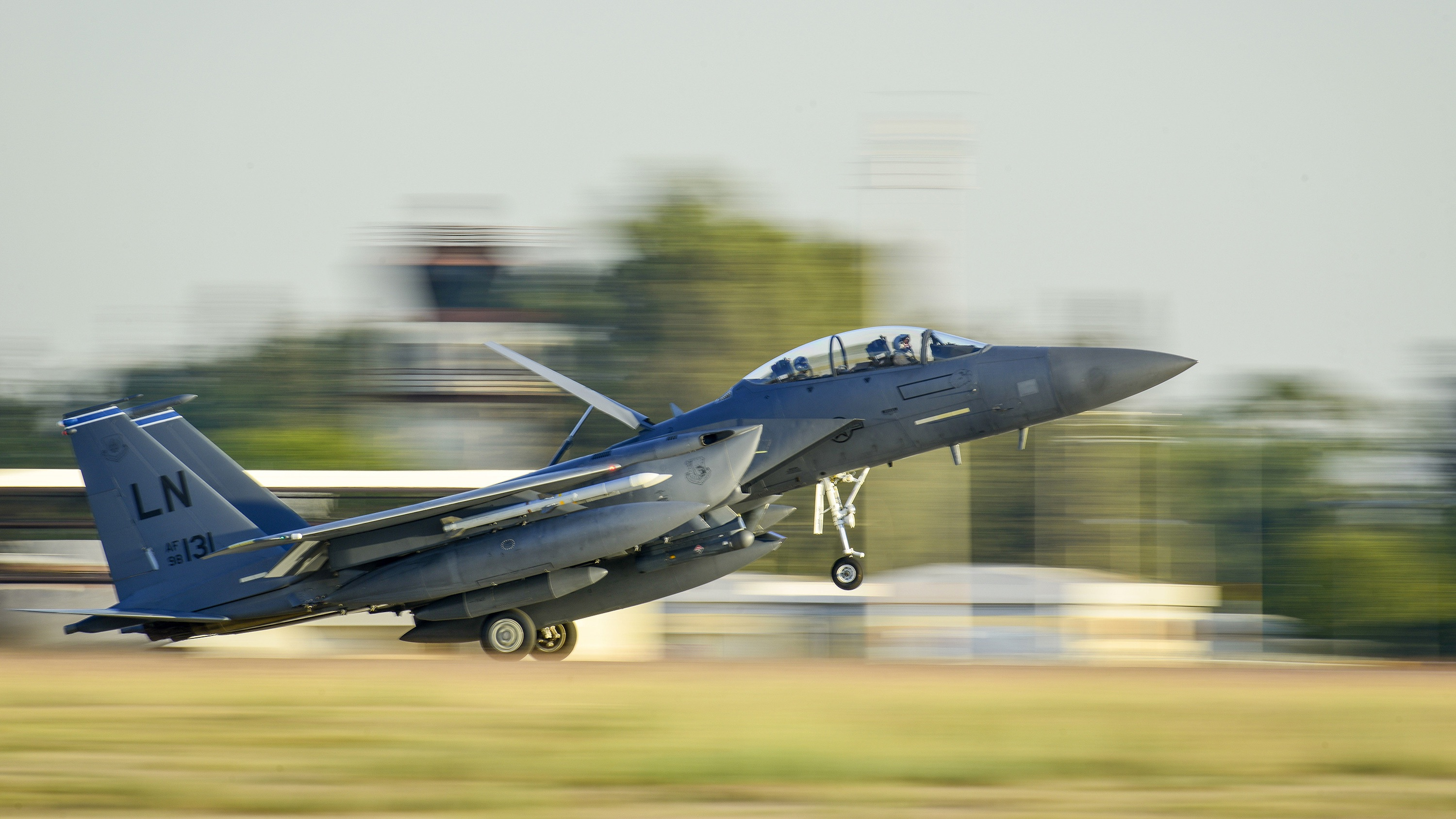 A US Air Force F-15E Strike Eagle from the 48th Fighter Wing lands at Incirlik Air Base, Turkey in Nov. 2015.