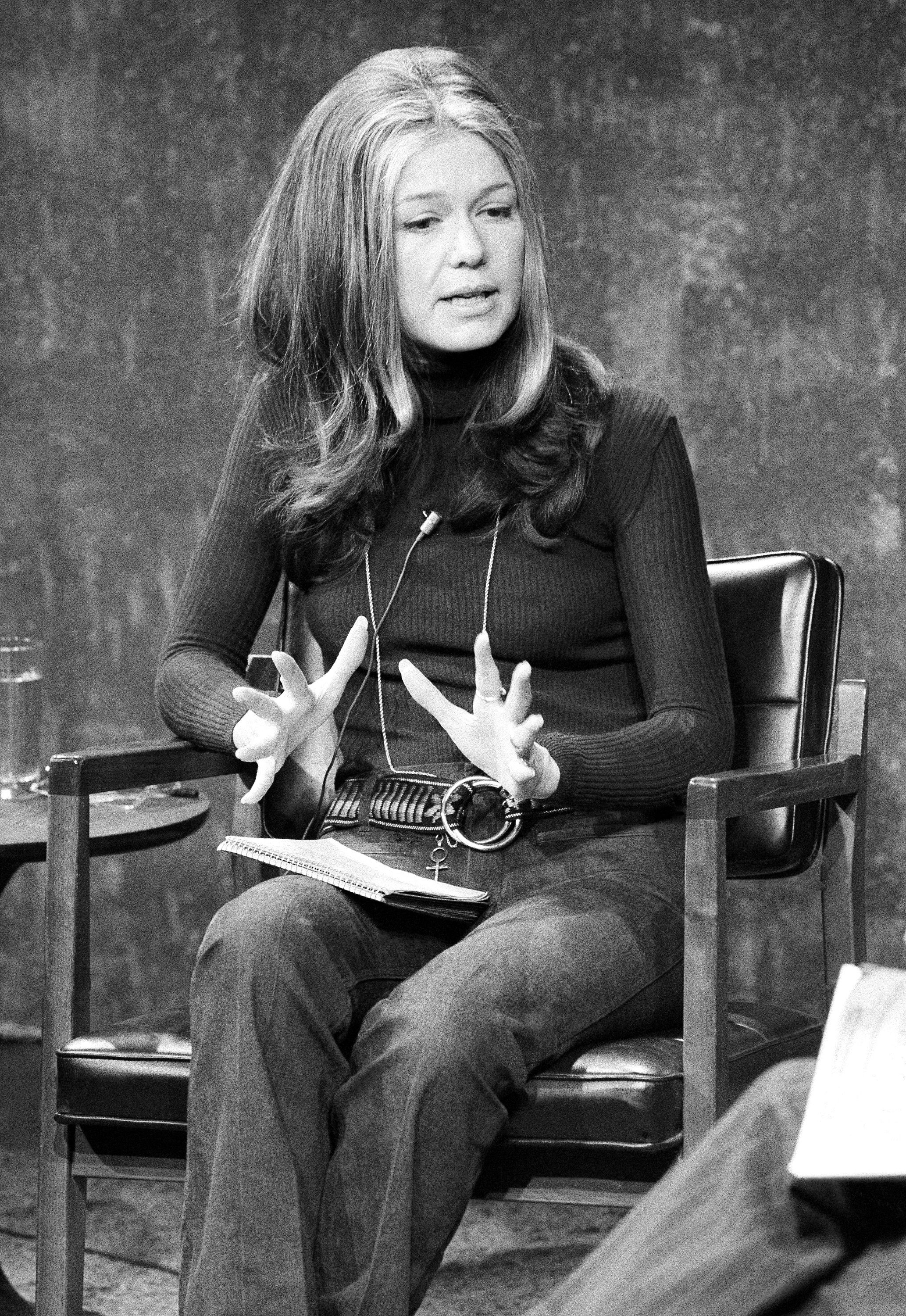 "Gloria Steinem appears on ABC-TV's ""Issues And Answers"" program, Dec. 26, 1971. (AP Photo/Jim Wells)"