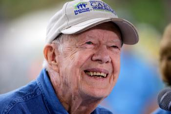 Former President Jimmy Carter answers questions during a news conference at a Habitat for Humanity building site Monday, Nov. 2, 2015, in Memphis, Tenn.
