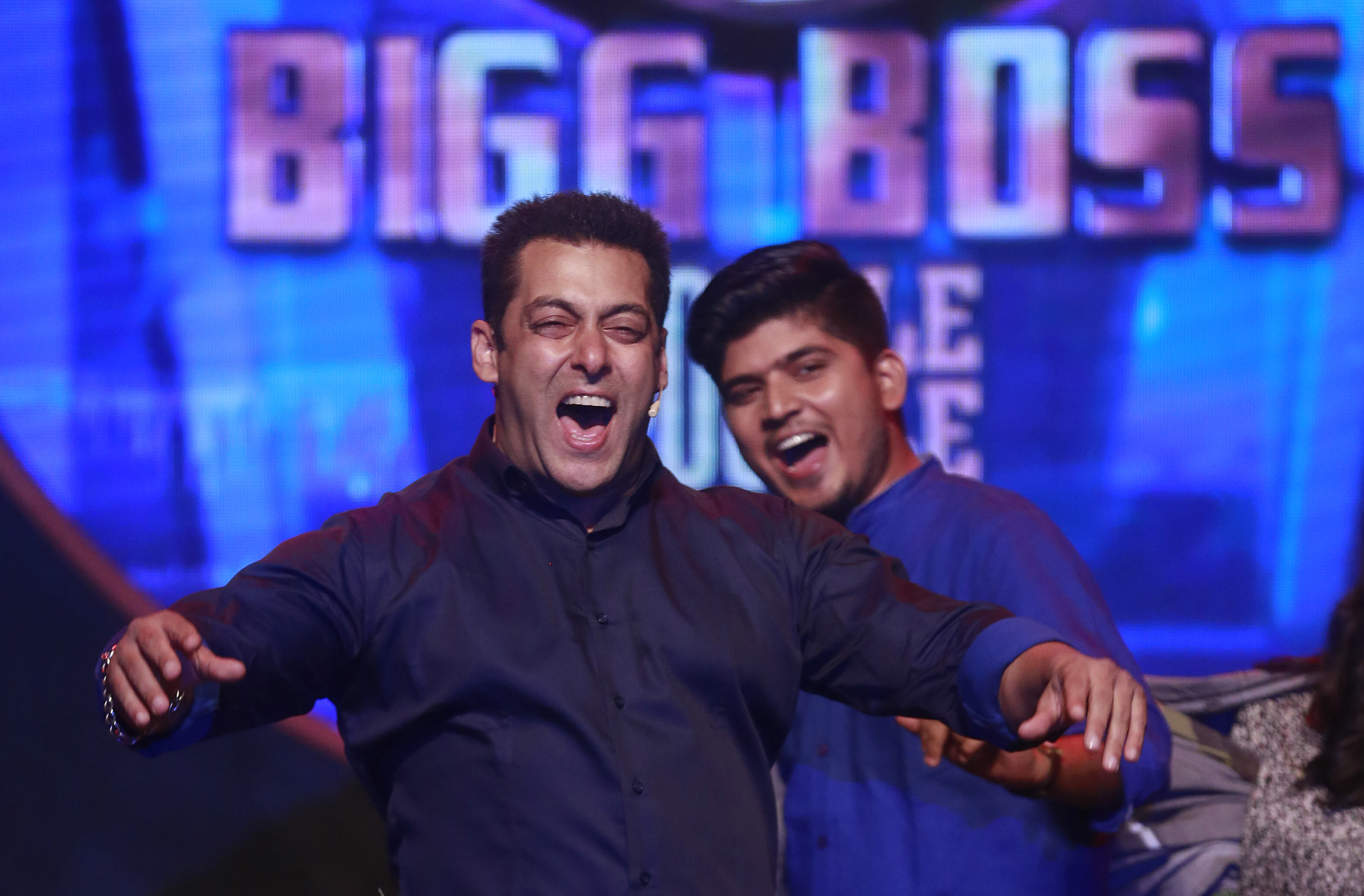 Bollywood actor Salman Khan performs during a news conference to announce the ninth season of reality television show 'Big Boss' in Mumbai, India, Monday, Sept. 28, 2015