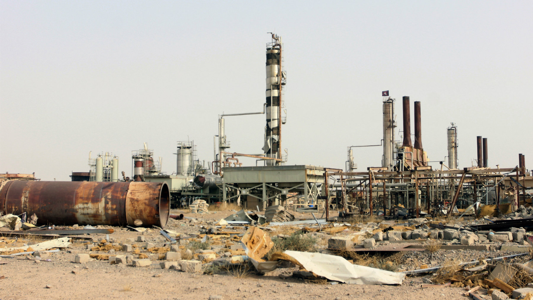 Destruction at Beiji oil refinery during the military operations, some 250 kilometers (155 miles) north of Baghdad, Iraq