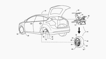 Sketch of Ford's patent application for a detachable motor-unicycle