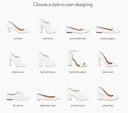 The styles available to customize at Shoes of Prey