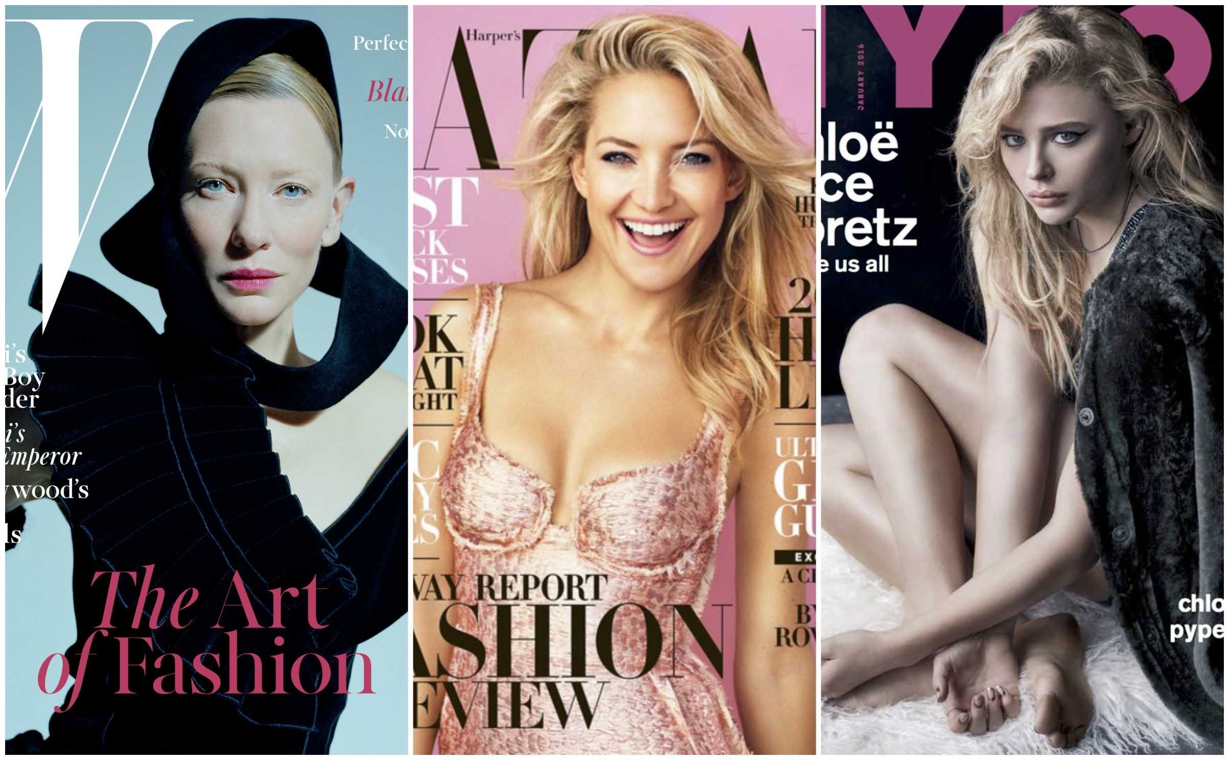 The December covers of W magazine, Harper's Bazaar, and Nylon