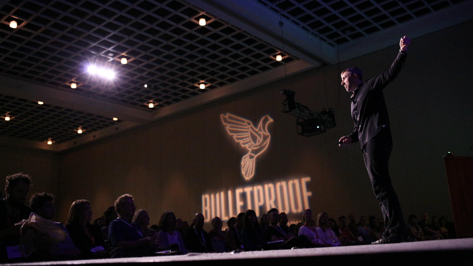 Bulletproof founder and CEO Dave Asprey on stage at the 3rd annual Bulletproof conference in Pasadena, October 2015.