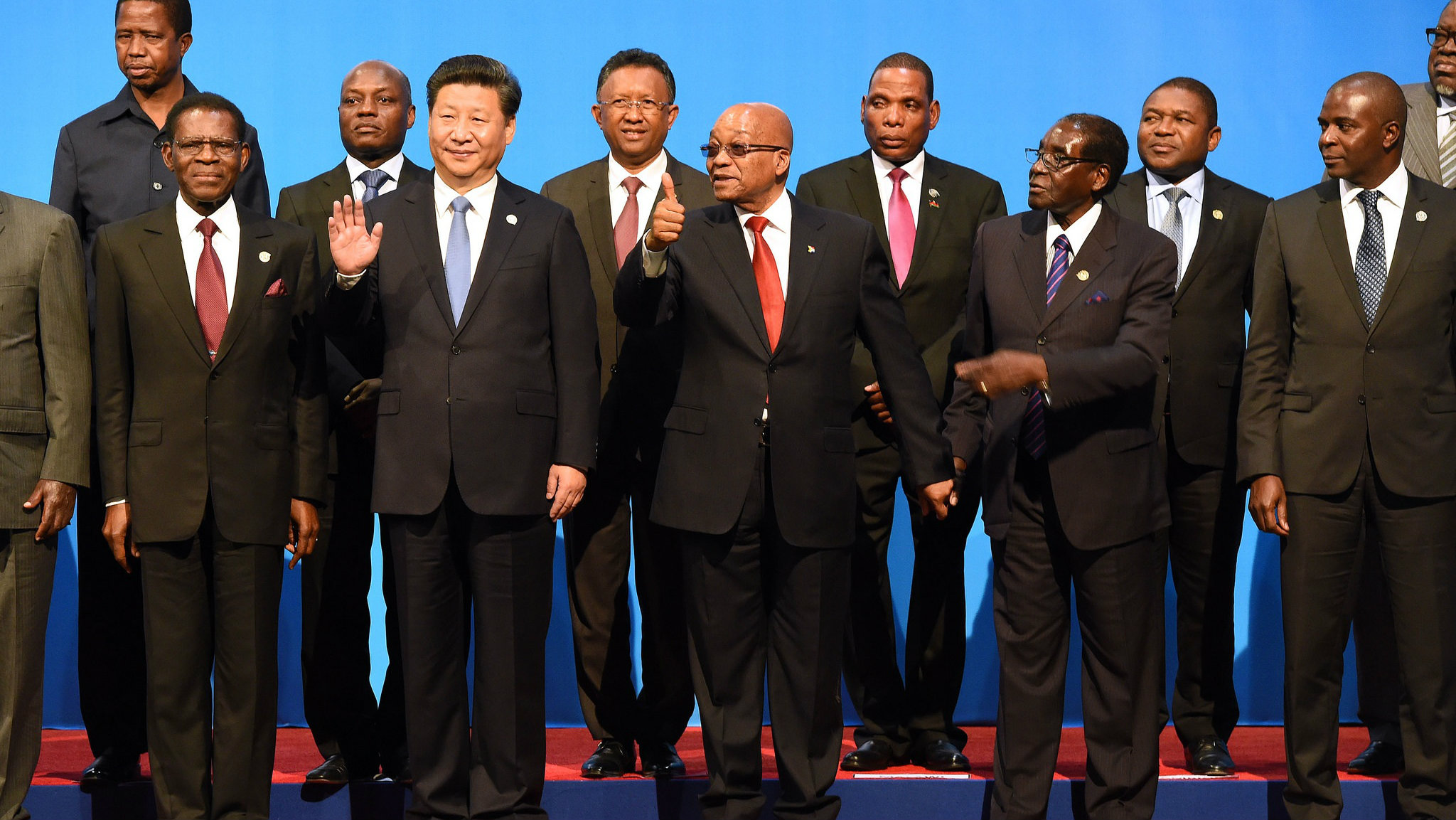 Xi Jinping (second from left) at the Forum on China-Africa Cooperation in Johannesburg.