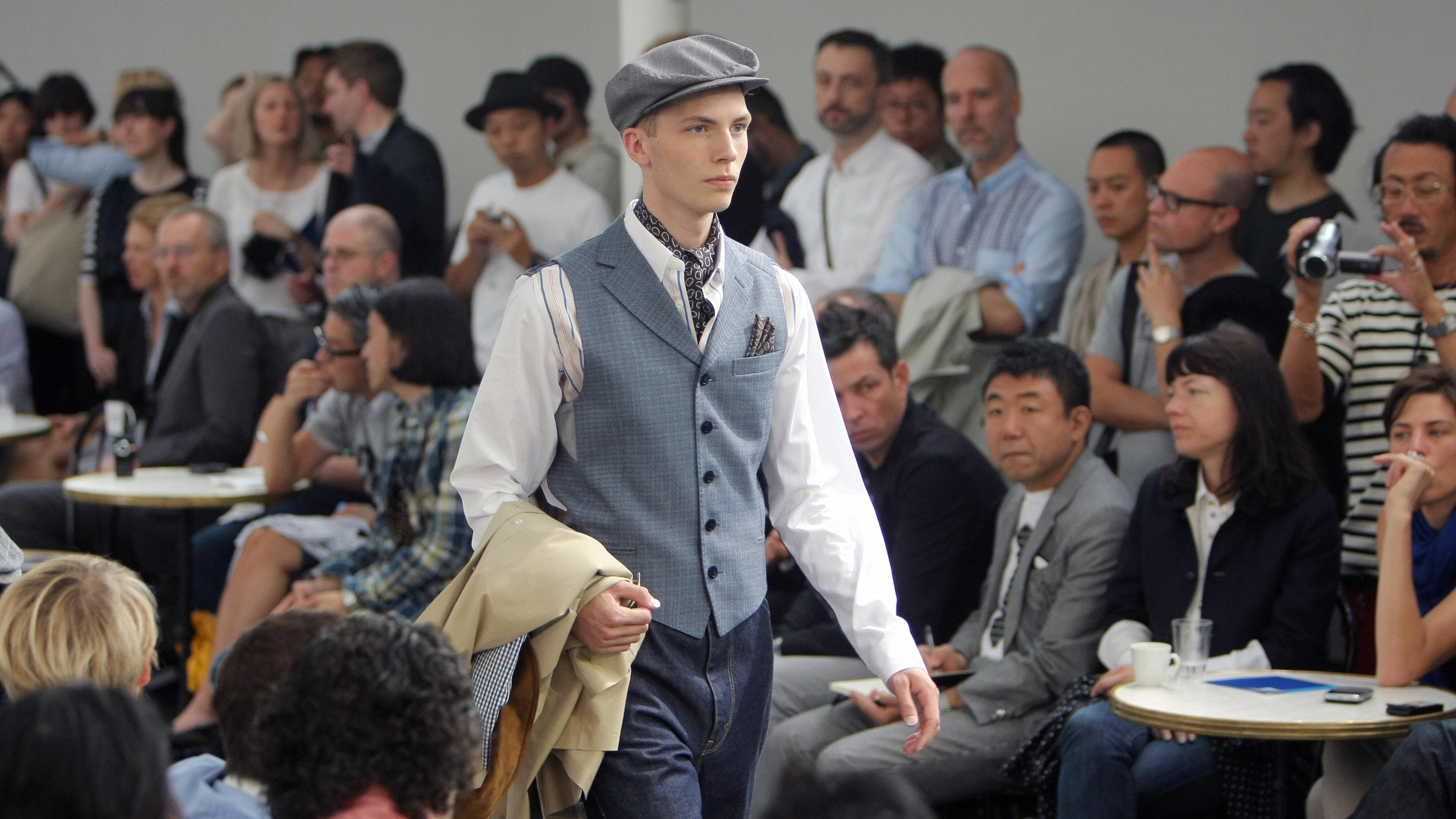 A model presents creations for Junya Watanabe Man / Comme des Garçons as part of the men's 2009-2010 spring-summer ready to wear collection presentations on June 26, 2009 in Paris.