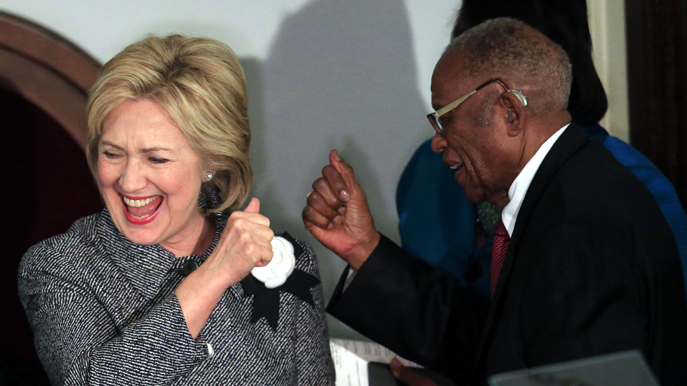 U.S. Democratic presidential candidate Hillary Clinton is greeted by Fred D. Gray, attorney for the late civil rights icon Rosa Parks, at the Dexter Avenue Baptist church during the National Bar Association's 60th anniversary of the Montgomery Bus Boycott in Montgomery, Alabama December 1, 2015.
