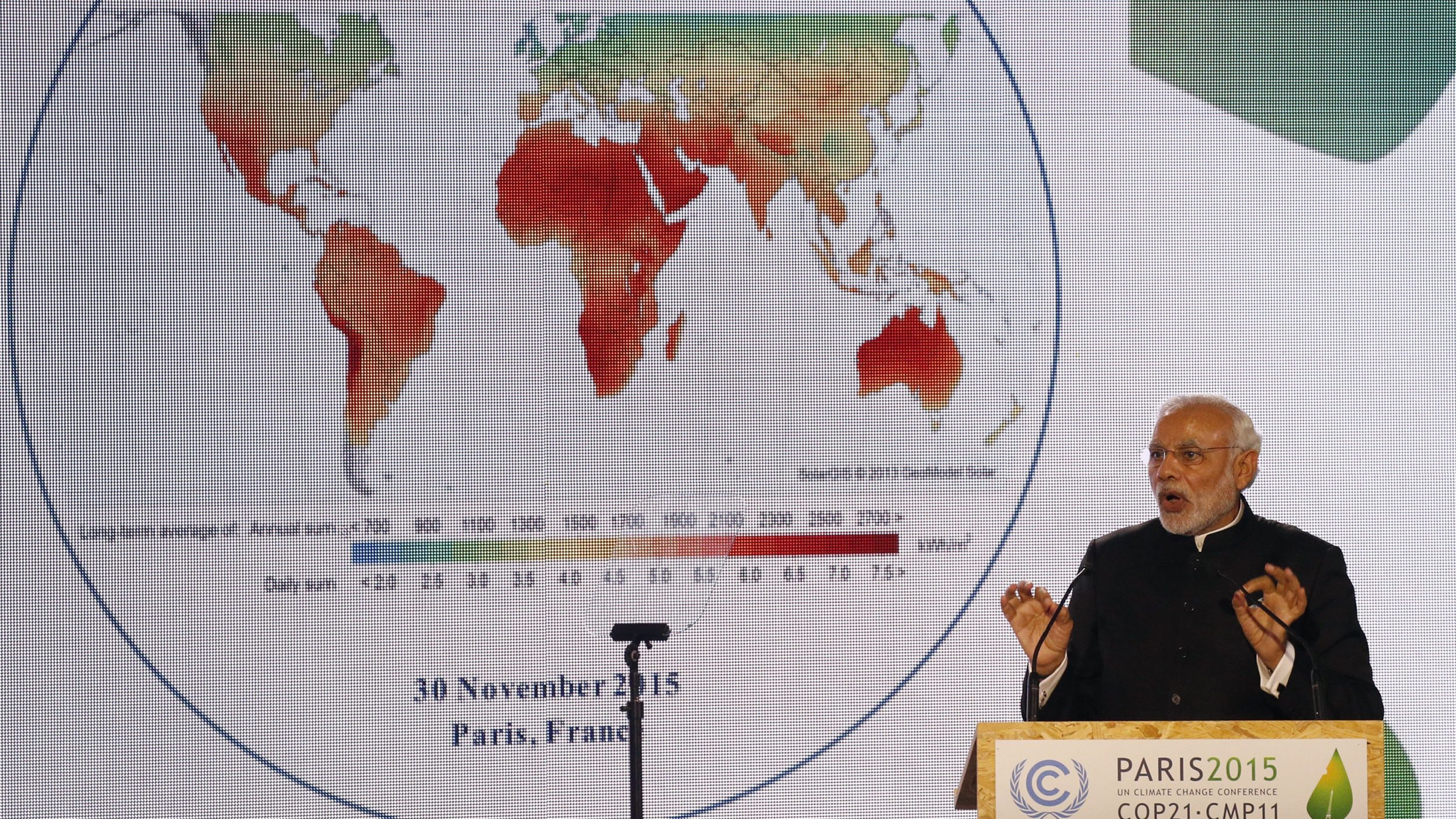 India's Prime Minister Narendra Modi delivers a speech during the launching of the International Solar Alliance
