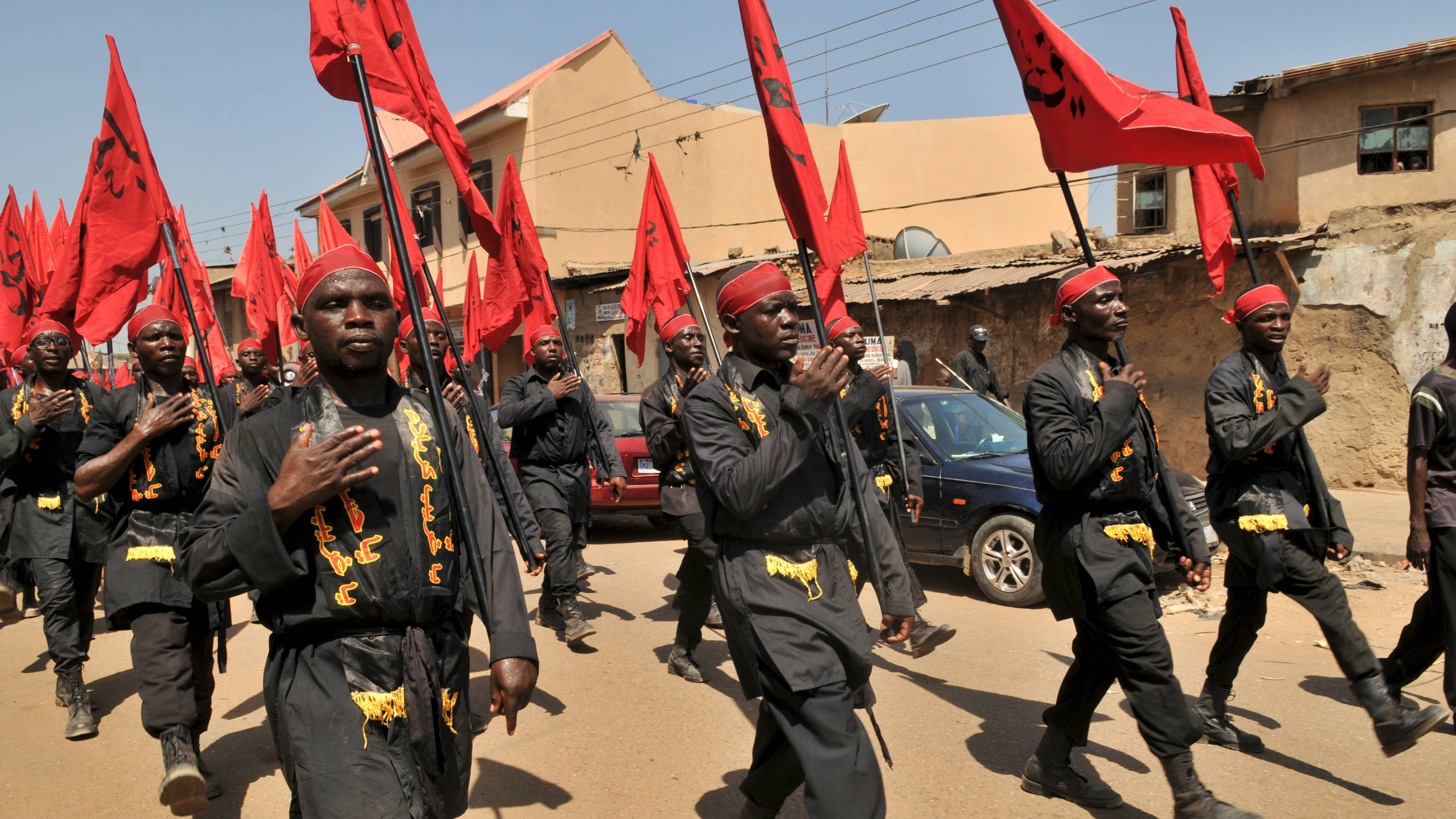 Shi'ite Muslims take part in a rally to commemorate Ashura in Kano, Nigeria October 24, 2015. Ashura, which falls on the 10th day of the Islamic month of Muharram, commemorates the death of Imam Hussein, grandson of Prophet Mohammad, who was killed in the seventh century battle of Kerbala. REUTERS/Stringer