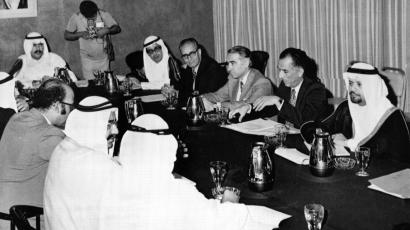 A subcommittee of six Organization of Petroleum Exporting Countries (OPEC) meet to study the prices of oil on Nov. 3, 1973, in Kuwait.