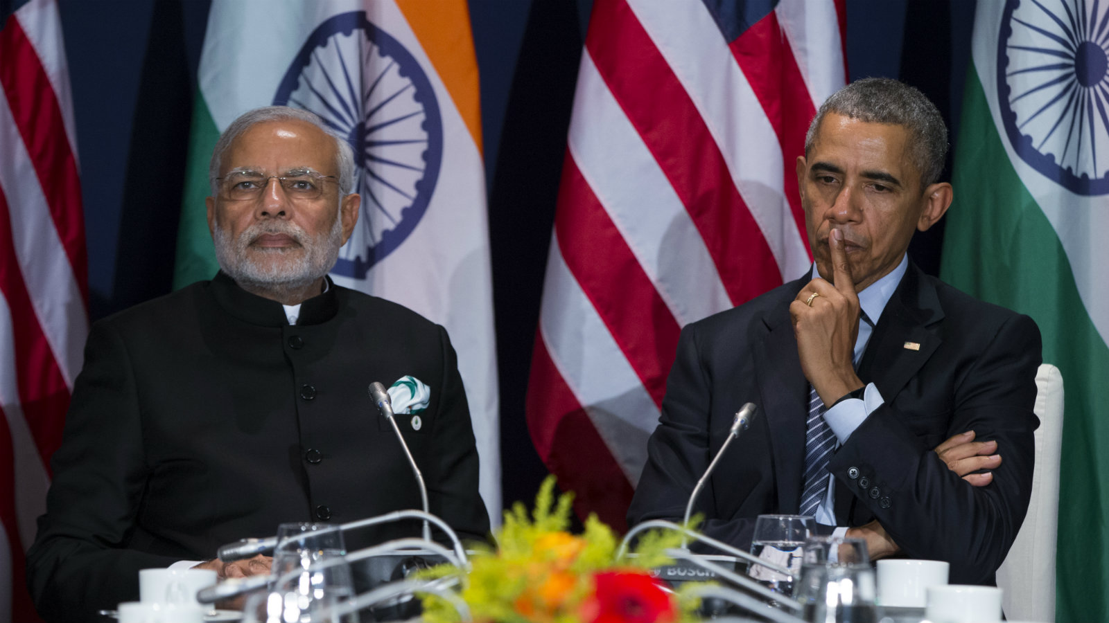 U.S. President Barack Obama, right, meets with Indian Prime Minister Narendra Modi during the COP21, United Nations Climate Change Conference, in Le Bourget, outside Paris, on Monday, Nov. 30, 2015.