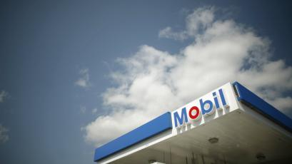 A Mobil gas station is seen in Medford, Massachusetts.