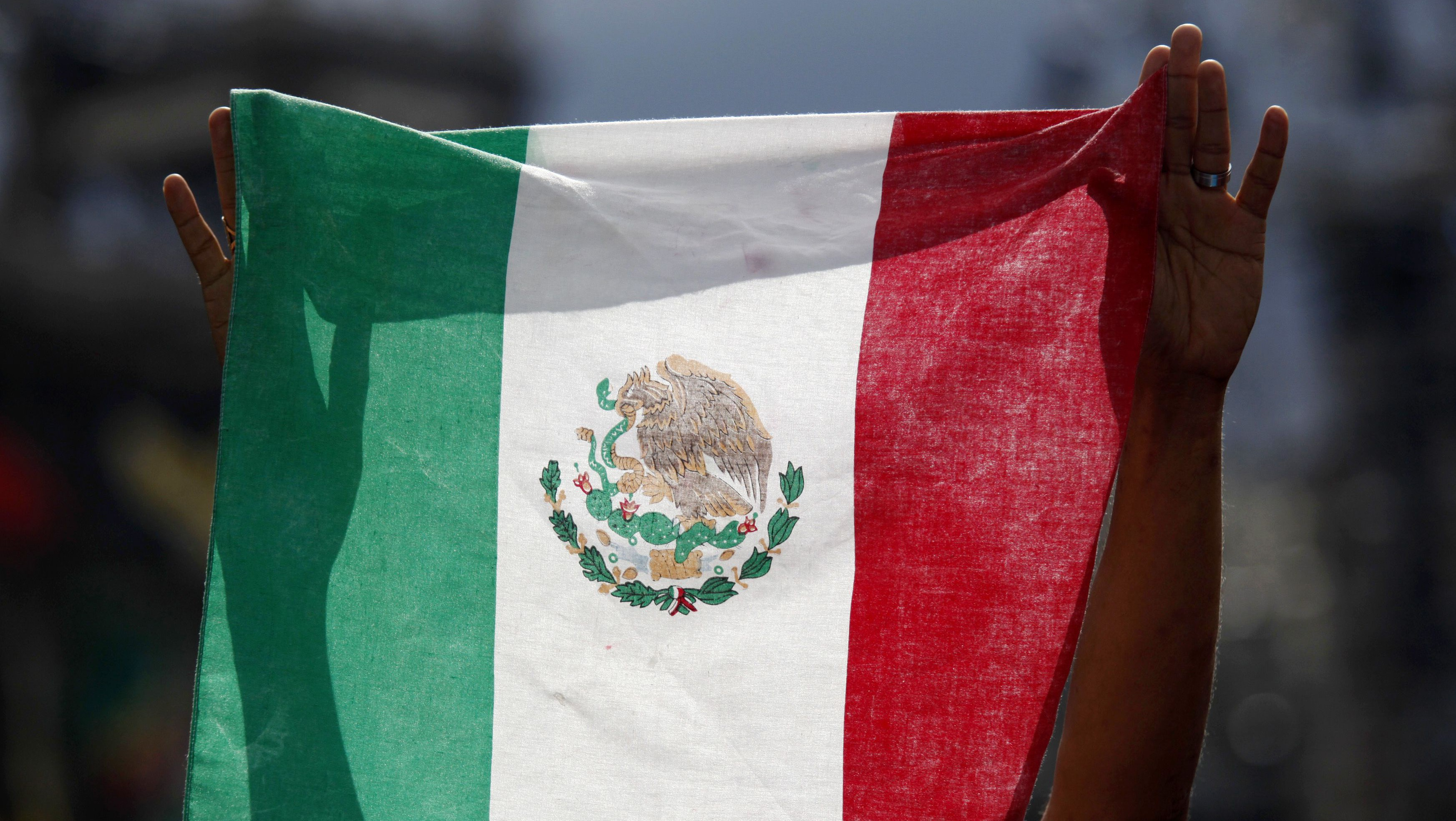 Mexico's national flag is displayed in Mexico City