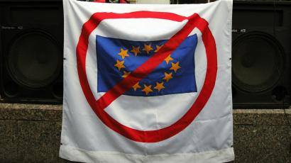 An anti-EU flag is displayed at Zagreb's main square.